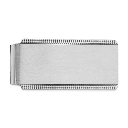 Sterling Silver Rhodium-plated Satin Front Money Clip QQ38