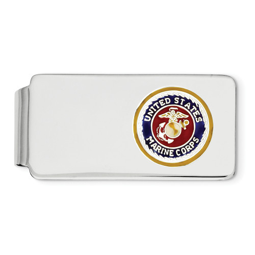 Sterling Silver Rhodium U.S. Marine Corp Money Clip QQ282