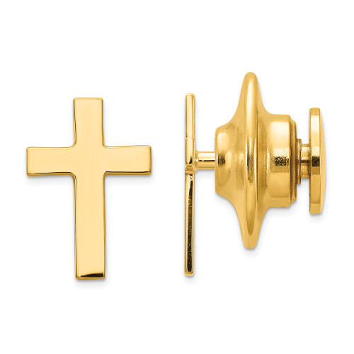 14k Yellow Gold Polished Cross Tie Tac XR461