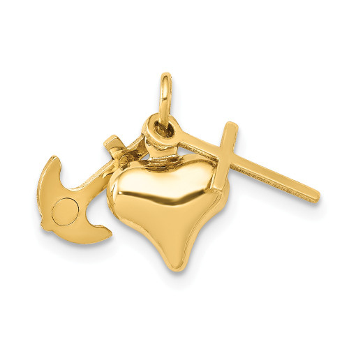 14k Yellow Gold Faith, Hope and Charity Charm C3732