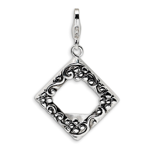 Sterling Silver 2-D Antiqued Photo w/Lobster Clasp Charm QCC163