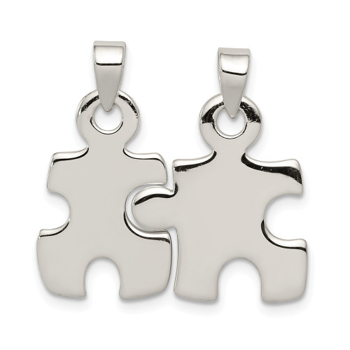 Sterling Silver Polished Puzzle Pieces Pendant QC7719