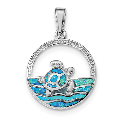 Sterling Silver Blue Inlay Created Opal Turtle Pendant QP4871