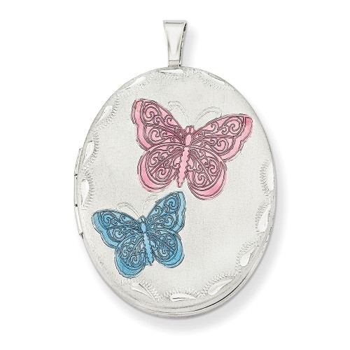 Sterling Silver Rhodium-plated 26mm Enameled Butterfly Oval Locket QLS262-18