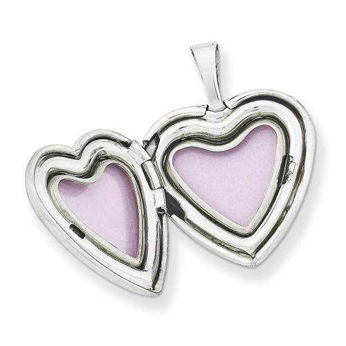 Sterling Silver Rhodium-plated 16mm Enameled & D/C Love Heart Locket QLS419