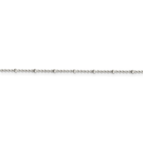 Sterling Silver 1.25mm Rolo with Beads Anklet QFC163-10