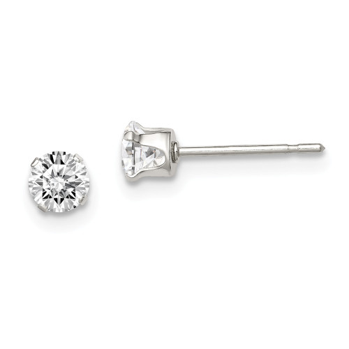 Sterling Silver 4mm Round Snap Set CZ Stud Earrings QE1003