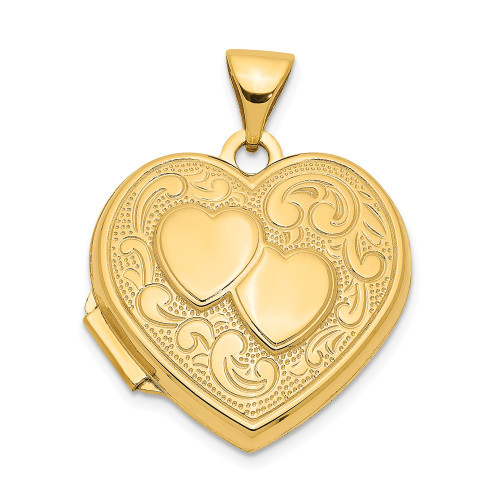 14k Yellow Gold Double Heart Locket XL78