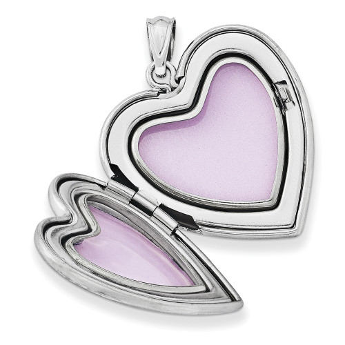 Sterling Silver Rhodium-plated & Dia. 24mm D/C Heart Locket QLS400
