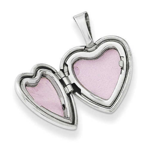 Sterling Silver Rhodium-plated & Dia. Polished 12mm Heart Locket QLS483