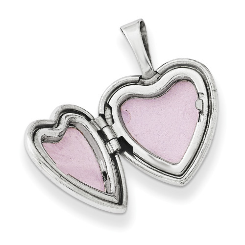 Sterling Silver Rhodium-plated Heart Wings 12mm Heart Locket QLS488