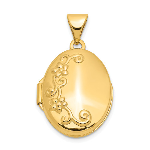 14k Yellow Gold Floral Locket XL116