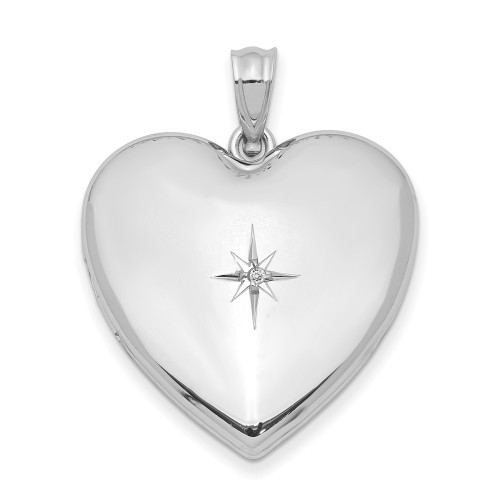 Sterling Silver 24mm with Diamond Star Design Heart Locket QLS307