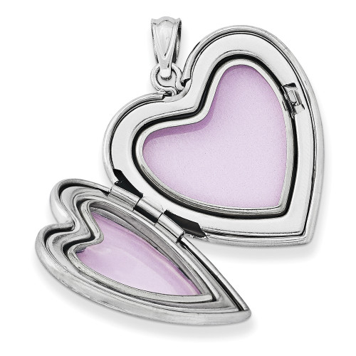 Sterling Silver 24mm Enameled & D/C Grandma Heart Locket QLS410