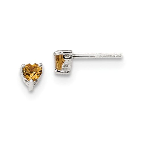 Sterling Silver 4mm Heart Citrine Post Earrings QBE27NOV