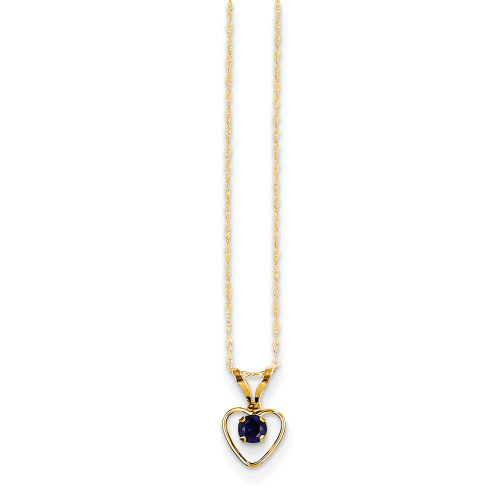 14k Yellow Gold Madi K 3mm Sapphire Heart Birthstone Necklace GK411-15