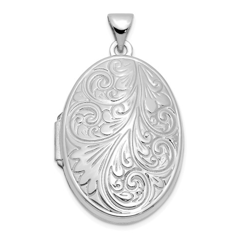 14k White Gold Scroll Oval Locket XL618