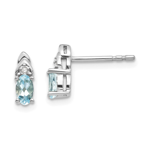 14k White Gold Aquamarine Diamond Earring XBS235