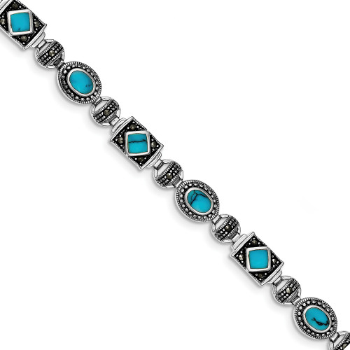 Sterling Silver Synth Turquoise and Marcasite Bracelet QH1035-7