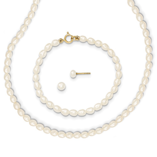14k Yellow Gold White FW Cultured Pearl 14 in. Necklace, 5 in. Bracelet & Earring Set XF403SET