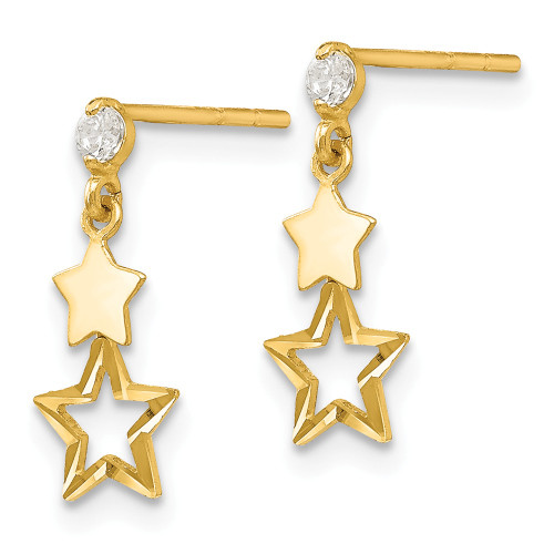 14k Yellow Gold Madi K Cubic Zirconia (CZ) Star Post Dangle Earrings GK595