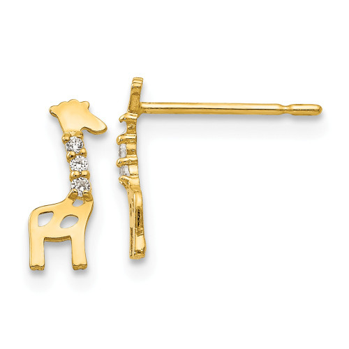 14k Yellow Gold Madi K Cubic Zirconia (CZ) Children's Giraffe Post Earrings GK821
