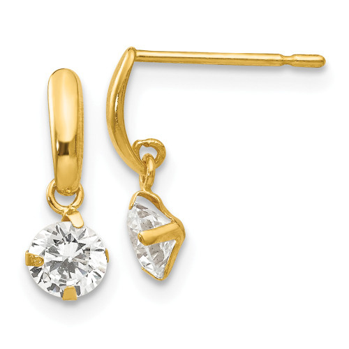 14k Yellow Gold Madi K Cubic Zirconia (CZ) Children's Dangle Post Earrings GK629