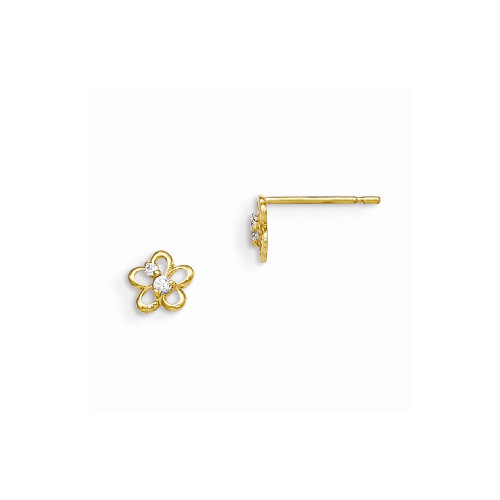 14k Yellow Gold Madi K Cubic Zirconia (CZ) Children's Flower Post Earrings GK798