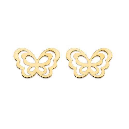 14k Yellow Gold Madi K Children's Butterfly Post Earrings GK815