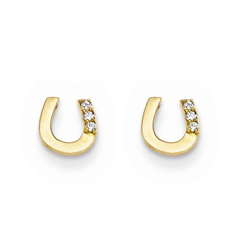 14k Yellow Gold Madi K Cubic Zirconia (CZ) Children's Horseshoe Post Earrings GK651