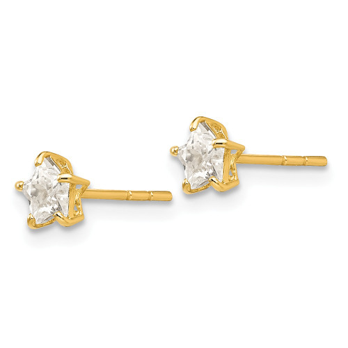 14k Yellow Gold Madi K Cubic Zirconia (CZ) 4mm Star Post Earrings GK597