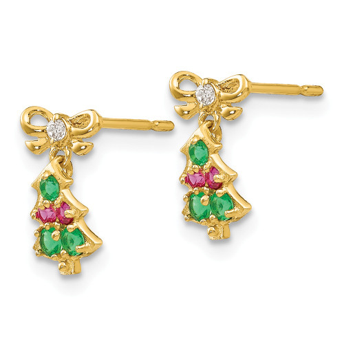14k Yellow Gold Madi K CZ Christmas Tree Dangle Post Earrings GK844