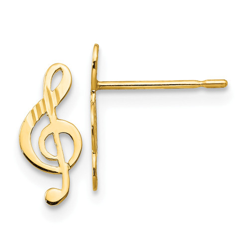 14k Yellow Gold Madi K D/C Children's Music Note Post Earrings GK837