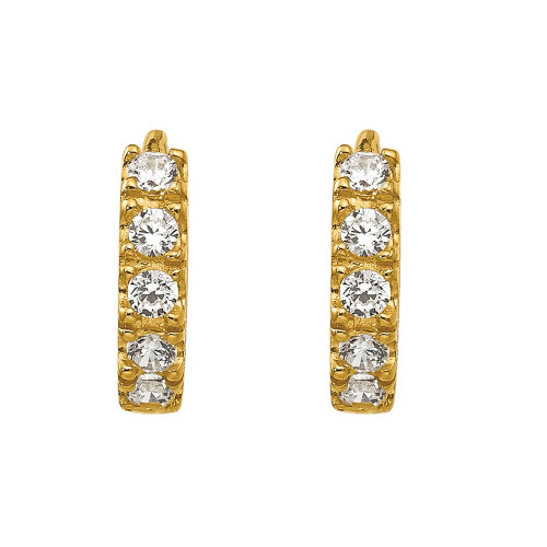 14k Yellow Gold Madi K Cubic Zirconia (CZ) Children's Hinged Hoop Earrings GK648