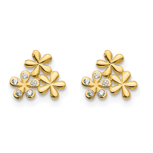 14k Yellow Gold Madi K Cubic Zirconia (CZ) Children's Flower Post Earrings GK802