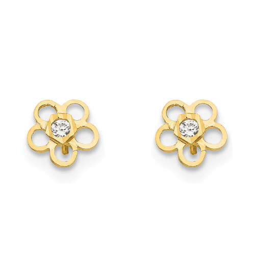 14k Yellow Gold Madi K Cubic Zirconia (CZ) D/C Children's Flower Post Earrings GK801