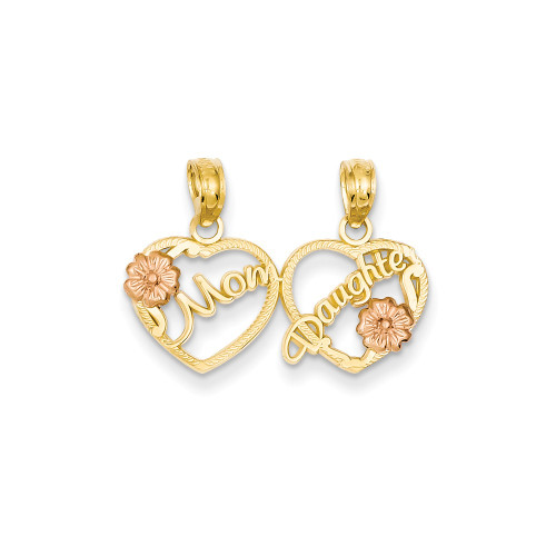 14k Two-tone Mom - Daughter Breakable Hearts Pendant K1714