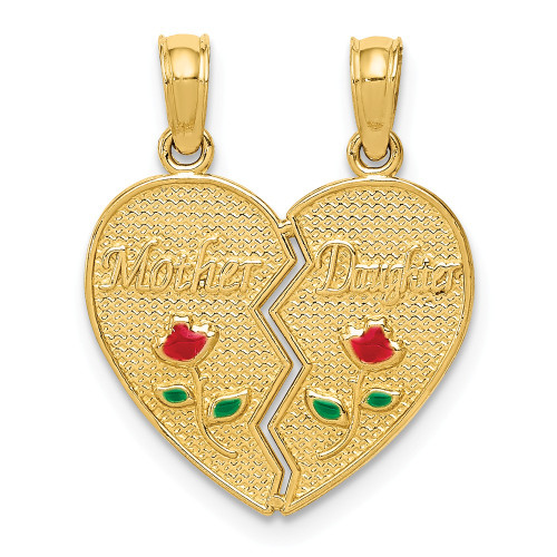 14k Yellow Gold Enameled Mother - Daughter Pendant M2696