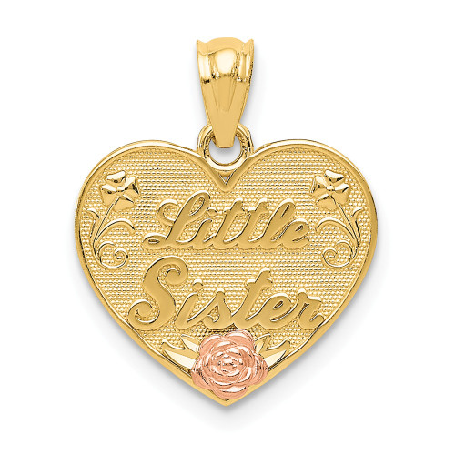 14k Two-tone Little Sister Heart Pendant D3976