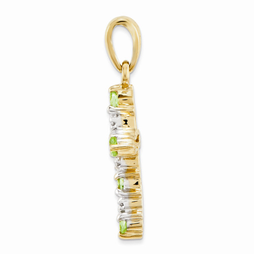 14k Yellow Gold Peridot & Diamond Cross Pendant XP3387PE/A