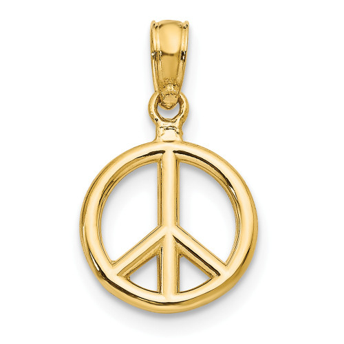 14k Yellow Gold Peace Symbol Pendant D4053