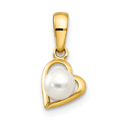 14k Yellow Gold FW Cultured Pearl Children's Heart Pendant YC1129