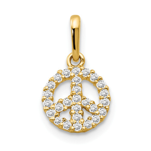 14k Yellow Gold CZ Children's Peace Sign Pendant YC1154