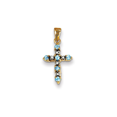 14k Yellow Gold Blue Topaz & Diamond Cross Pendant XP3386BT/A