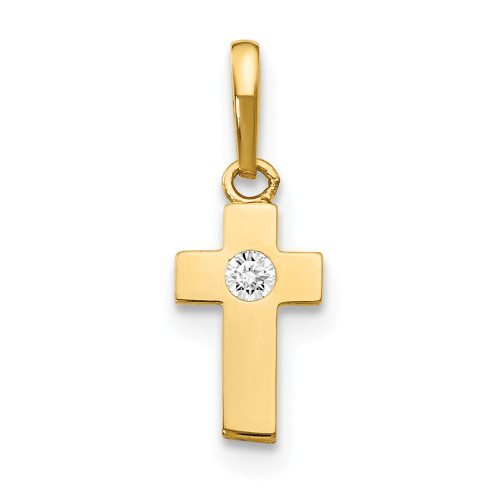 14k Yellow Gold CZ Children's Cross Pendant YC1126
