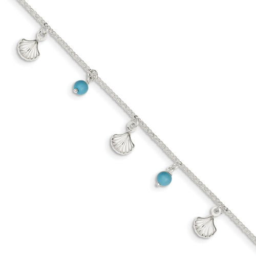 Sterling Silver Shell and Turquoise w/ 1in ext. Anklet QG3167-9