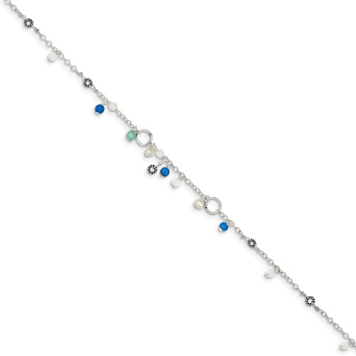 Sterling Silver Turquoise/Clear Bead/FW Cultured Pearl Anklet Blt QG1392-9