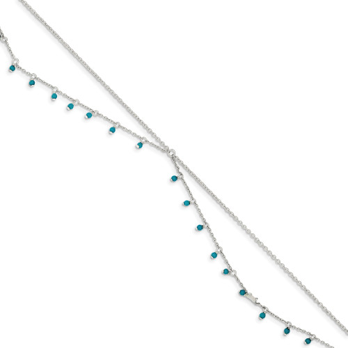 Sterling Silver Turquoise Double Chain Anklet Bracelet QG1394-10