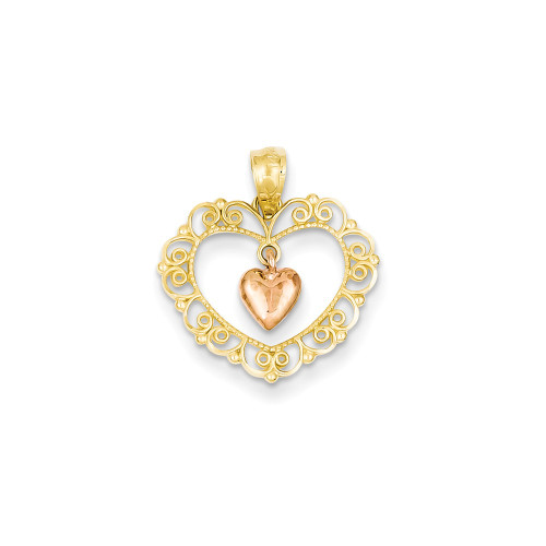 14k Two-tone Rose Filigree Heart Pendant YC442