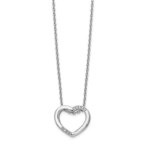 Sterling Silver White Ice Diamond Heart Necklace - QW312-18